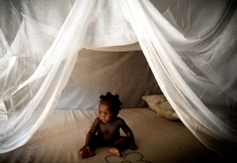 World Malaria Day child in bednet